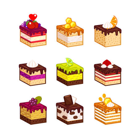 fruit cake: Set with different  fruit cake slices. Different taste and color. Pieces of cake. Vector illustration. Isometry. Stock Photo