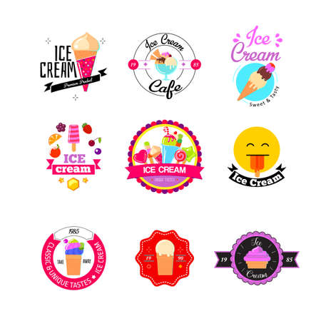 gelato: Set of colorful vintage and modern ice cream shop logo badges and labels. Flat ice cream stickers.