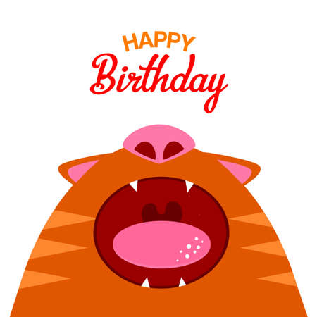 cat open: Vector illustration red cat with open mouth. Happy Birthday. It can be used as a card, banner or poster