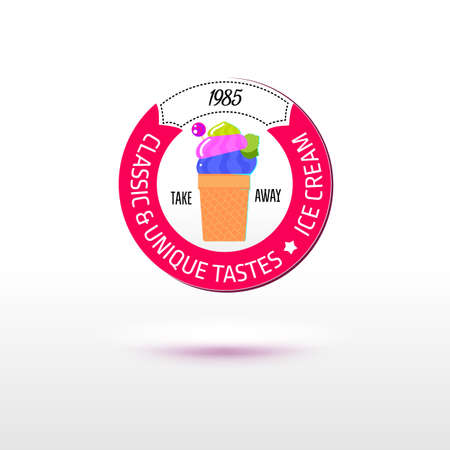 tastes: Ice cream retro style for shop, cafe and packaging design. Sign for the ice store. Flat vector. Classic and unique tastes of ice cream.