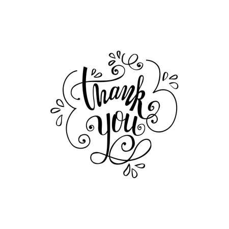 Dank u met de hand geschreven vectorillustratie, zwarte borstelpen van letters voorzien geïsoleerd op witte achtergrond
