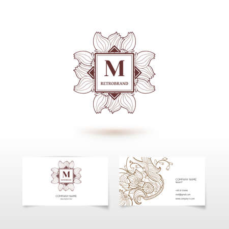 Vector monogram graphic design elements, logo design in trendy linear and minimal retro style - business card templates for beauty and spa studios, florist and wedding services