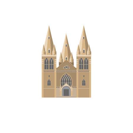 monumental: The Gothic facade of catholic Cathedral flat vector illustration. Catholic crunch icon. Gothic style religion landmark symbol. Illustration