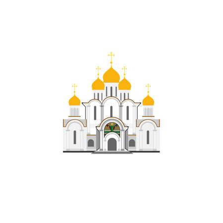 Russisch-orthodoxe kathedraal Kerk flat illustratie. Vector pictogram.