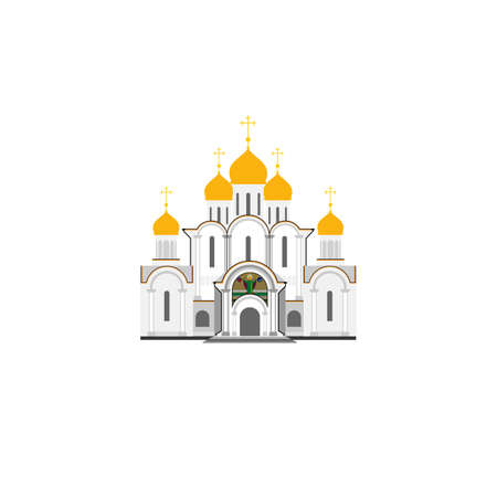 monasteries: Russian Orthodox Cathedral Church flat illustration. Vector icon.