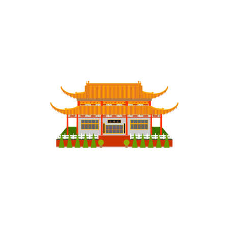 buddhist temple: Buddhist temple. Vector illustration of Pagoda. China pagoda flat icon. Illustration