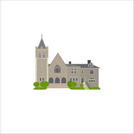 baptist: Flat icon of Baptist Church. Religion vector illustration of landmark.