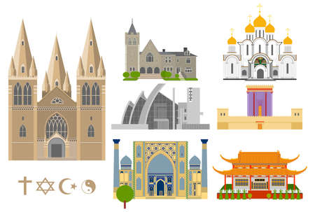cathedrals: Cathedrals and churches vector infographic set. Religious signs collection. Famous Cathedrals flat icons. Illustration