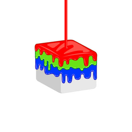 leaking: Red, green, blue leaking oil on cube. Vector creative RGB concept for print company. Print shop idenity. Illustration