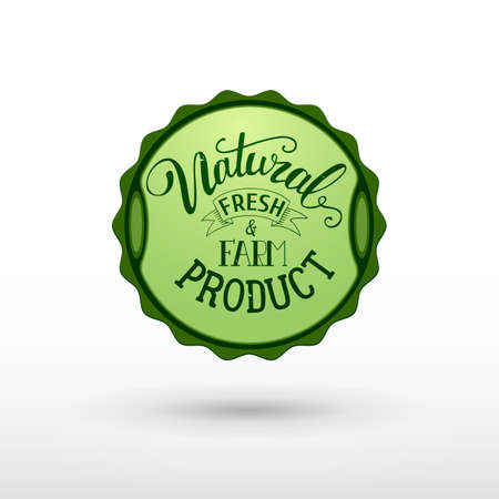 fresh food: Natural fresh and farm food product label design woth handwritten lettering text. Vector illustration for farm products identity and mark. Natural food banner, sticker design and organic logo.