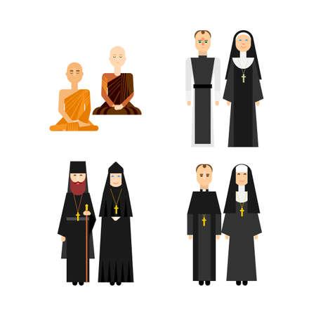 異なる宗教の僧侶セット。告白男と女のカップル。宗教の人々 のベクトルのフラット アイコン。正教会、カトリック、仏教の宗教人々 は文字の図