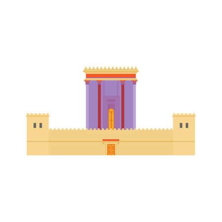Jeruzalem Herods Tempel. Platte ontwerp illustratie. Religieuze architectuur symbool