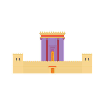 Jerusalem Herods Temple. Flat design illustration. Religious architecture symbol