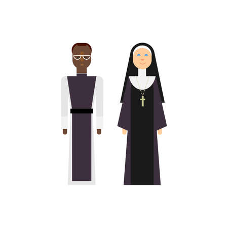 christian young: Protestantism religious men and women. Vector christian priests. Flat design characters.