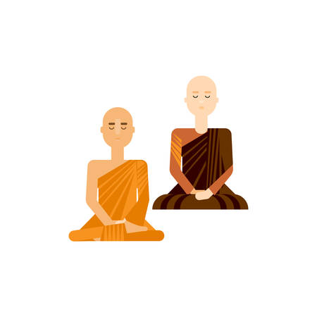 thai women: Thai monks sitting and meditating. Buddhist men and women in traditional religious robe. Eastern monk poses vector illustration. Flat design religious characters. Illustration