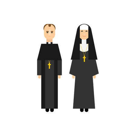 christian young: Catholic men and women monks in traditional religious clothes. Flat characters design. Vector illustration. Illustration