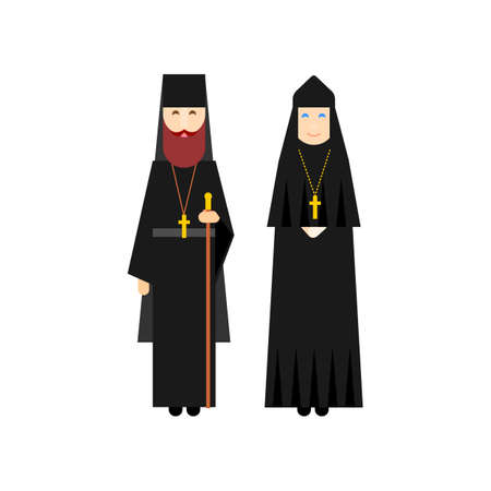 Orthodox men and women monks in traditional religious clothes. Flat characters design. Vector illustration.