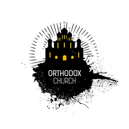 cupola: Orthodox Cathedral Church silhouette with grunge splash. Religious temple abstract emblem design. Vector logo. Grunge illustration. Orthodox emblem.