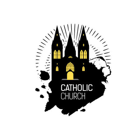 catholicism: Catholic Cathedral Church silhouette with grunge splash. Religious temple abstract emblem design. Vector religious logo. Grunge illustration. Catholicism emblem. Illustration
