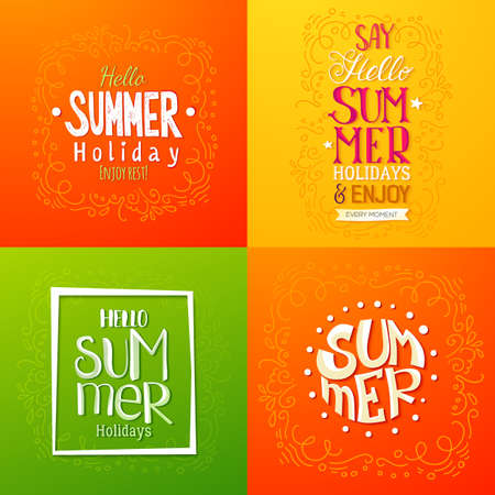 sketch out: Set of summer holidays hand drawn posters or greeting card with handwritten typography quotes, phrase and words. Lettering quotes. Vector illustration. Illustration
