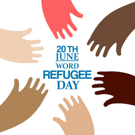 migrant: Different colors hands around text emblem for World Refugee Day. Vector illustration. Human rights, support and refugee day logo. Migrant safety concept. Illustration