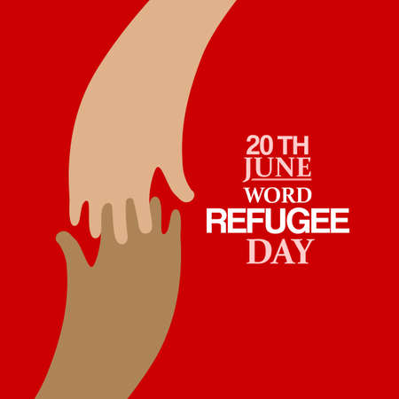 refugee: Stylish Two hands flat emblem and text for World Refugee Day. Vector illustration. Human rights, support and refugee day logo. Migrant safety concept.