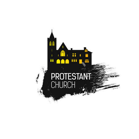 protestant: Protestant Church silhouette with grunge splash. Religious temple abstract emblem design. Vector religious. Grunge illustration. Protestant religion emblem.