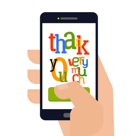hand touch: Smartphone with text Thank You which holding man hand. Touch thank you very much. Typography design for tablet and devices. Illustration