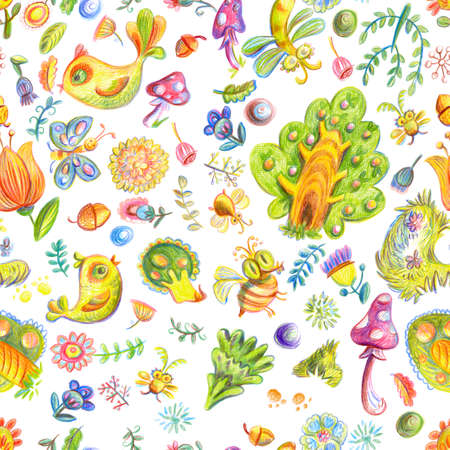 Cute Colorful Floral Seamless Raster Pattern With Nature Elements And Birds Kids Style Wallpaper
