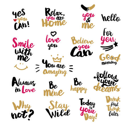 overs: Lifestyle Quotes typography. Hand-lettering motivation signs. Big Vector set for t-shirt, cup, bag and overs. Sketch inspirations