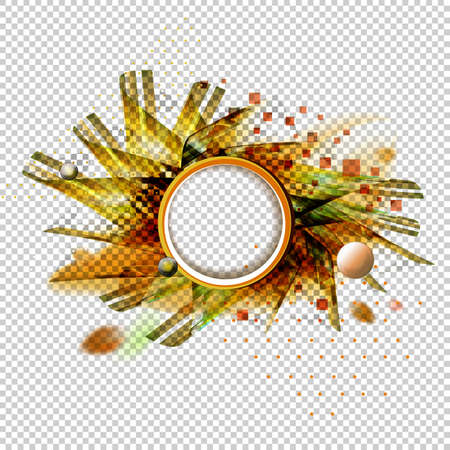 Abstract vector transparent background with geometric shapes, autumn colors and leaves. Circle element for headline. Futuristic orange colors illustration Illustration