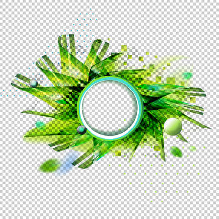 Abstract vector transparent background with geometric shapes. Circle element for headline. Excellent for presentations, business design, covers, posters, banners. Futuristic green colors illustration