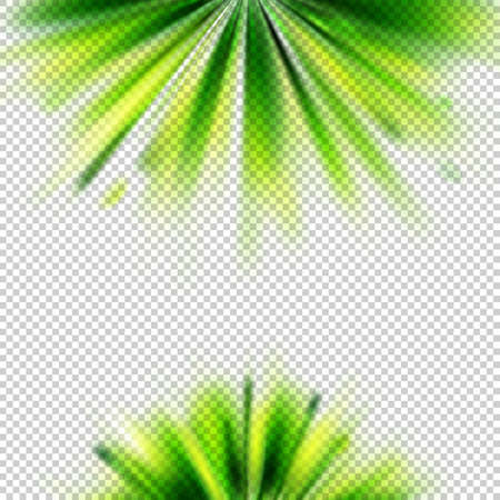 Abstract vector background blurring with green rays. Isolated at transparent backdrop.