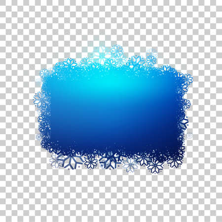 Blue baner with snowflakes at transparent background. Clear bubble for your text. Frozen sticker with snow. Vector design. Illustration