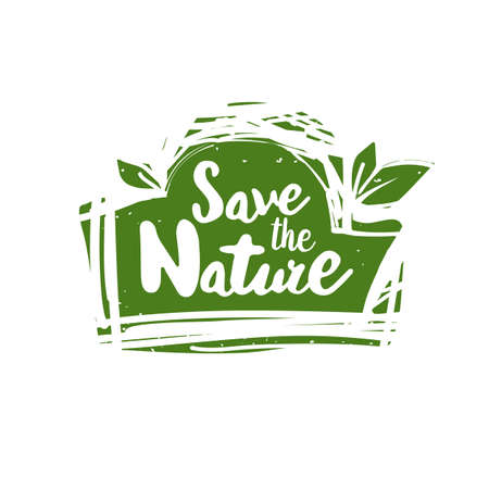 caligraphy: Save the nature lettering hand drawn vector. Positive save the nature quote. typography logo for eco friendly posters, t-shirts, cards. Save the nature quote calligraphic design. Illustration