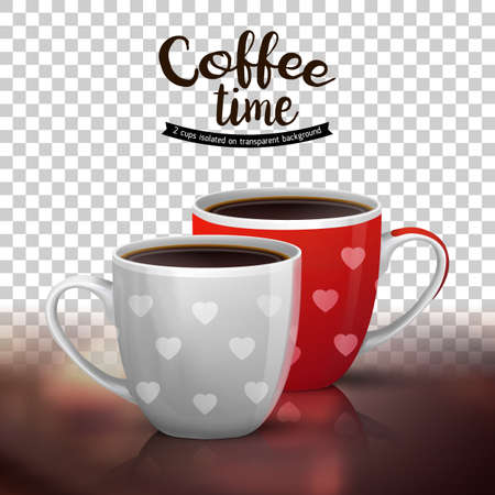Classic americano in two ceramic cups isolated on transparent background. illustration of coffee drinks. Coffee cups design with heart shapes. Illustration