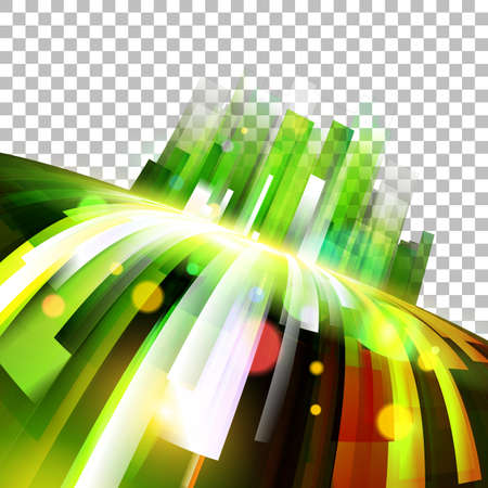 Abstract green wave design with multiply lines at transparent background for you cover design.