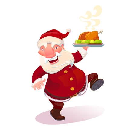 serving dish: Dancing Santa Claus holding serving dish with holiday turkey. Cartoon christmas character.