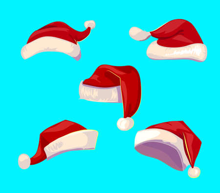 Set of red Santa Claus hats isolated. cartoon objects for Christmas design. Santa hats icons.