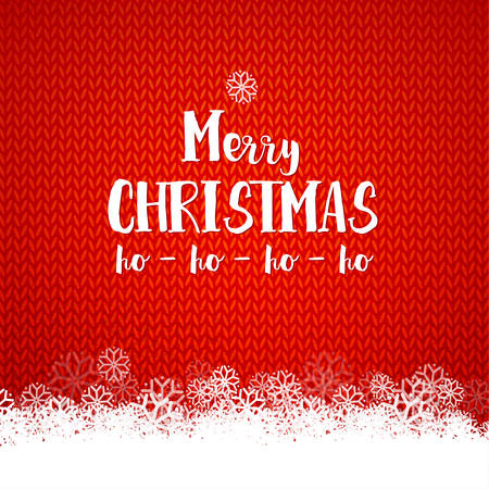 Merry Christmas and ho-ho-ho typography on red kniting background with snowflakes decor.