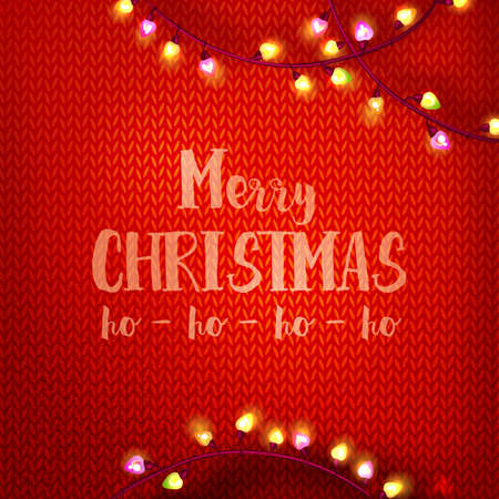 Merry Christmas and ho-ho-ho typography on red kniting background with garland lights .