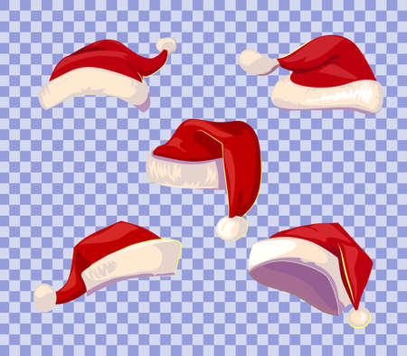 Cartoone style Santa hats set on transparent background.