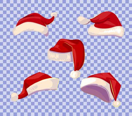 estilo Cartoone sombreros de Santa establecidos en el fondo transparente.