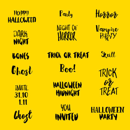 Halloween quotes isolated on yellow background. Typography artworks for holiday design.