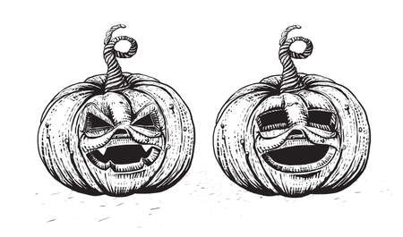 skecth: Halloween Pumpkin. Engraved Jack character illustration. Skecth style hand drawn pumpkin set. Illustration