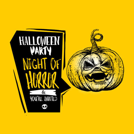 Happy Halloween party concept for Night of Horror party. Holidays illustration. Sketch drwaing jack pumpkin with typography.