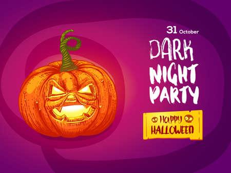 Happy Halloween night party invitation flayer. Illustration