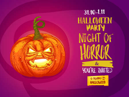 Happy Halloween party invitation to Night of Horror party. Holidays illustration. Cartoon styled jack pumpkin with typography.