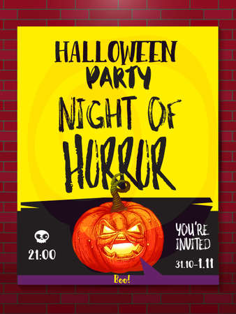 Happy Halloween party poster to Night of Horror party. Holidays illustration. Cartoon styled jack pumpkin with typography. Illustration