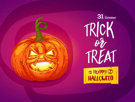 Happy Halloween card. Cartoon styled jack pumpkin with lettering Trick or Treat.
